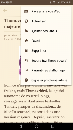 Android : menu depuis un article de l'application Pocket