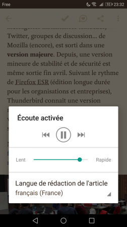 Android : synthèse vocale dans l'application Pocket