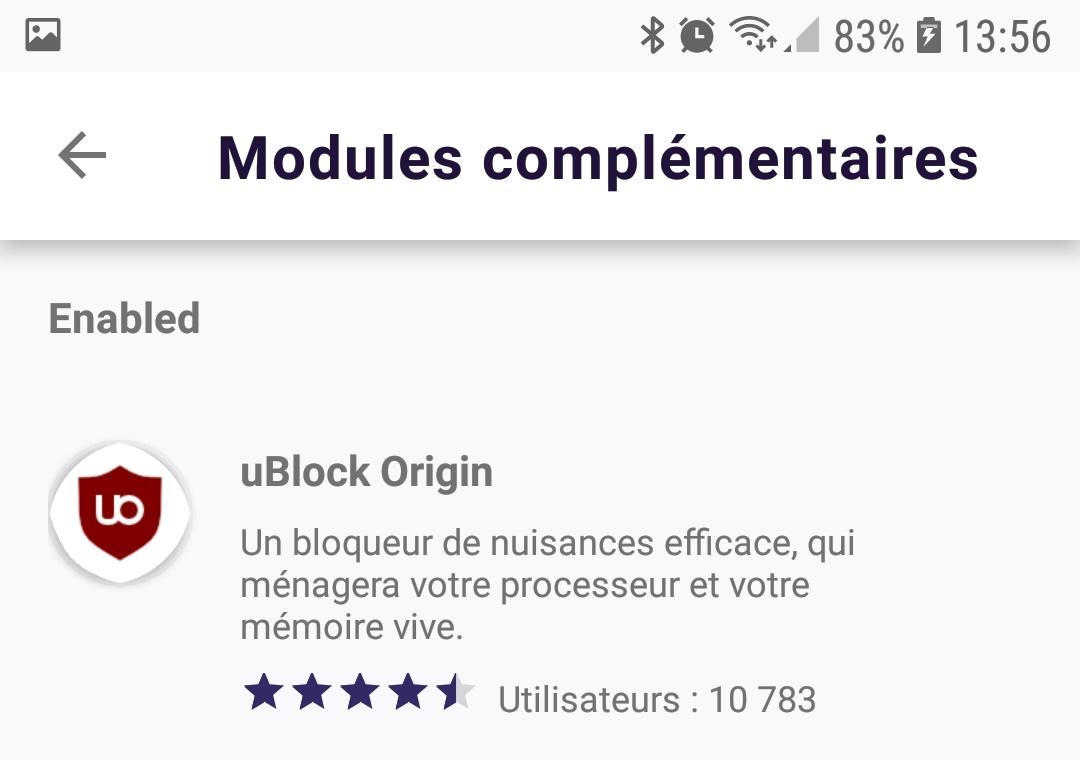 Firefox Preview : gestionnaire de modules complémentaires > activés > uBlock Origin.jpg