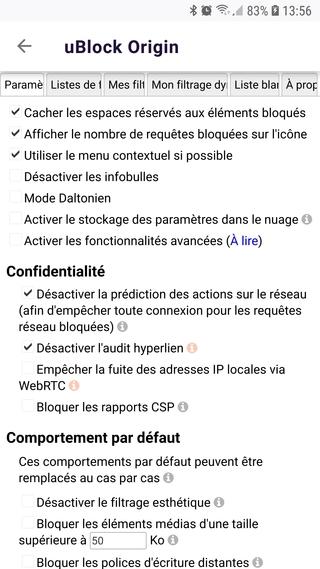 Firefox Preview > gestionnaire de modules complémentaires > uBlock Origin > Paramètres