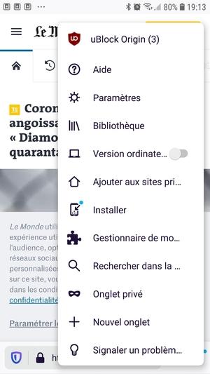 Firefox Preview : uBlock Origin dans le menu contextuel de page