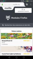 Firefox pour Android : page Thèmes d'AMO pour mobiles
