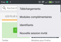 Firefox pour Android : menu Outils