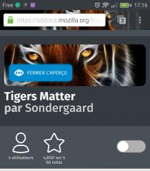 Firefox pour Android : thème Tigers Matter avec aperçu