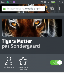 Firefox pour Android : thème Tigers Matter installé