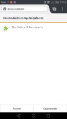 Firefox pour Android : Vos modules complémentaires, page de thème inactif