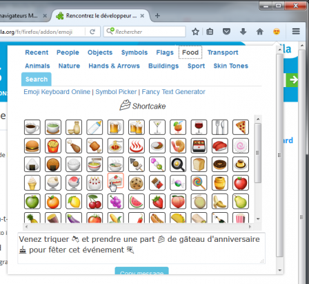 Emoji Keyboard : food (au survol) dans un message