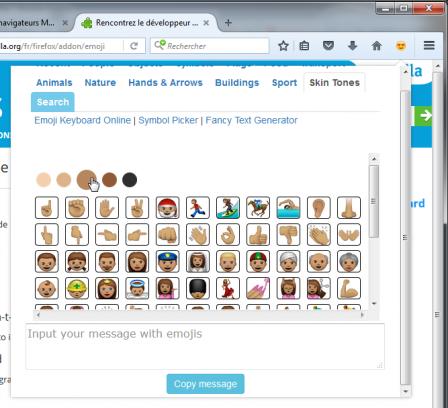 Emoji Keyboard : couleurs de peau (skin tones)