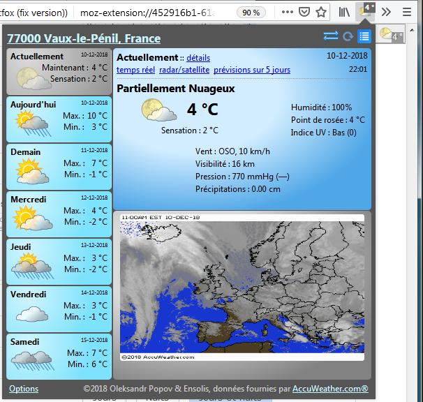 Forecastfox : panneau affiché lors du clic sur le bouton