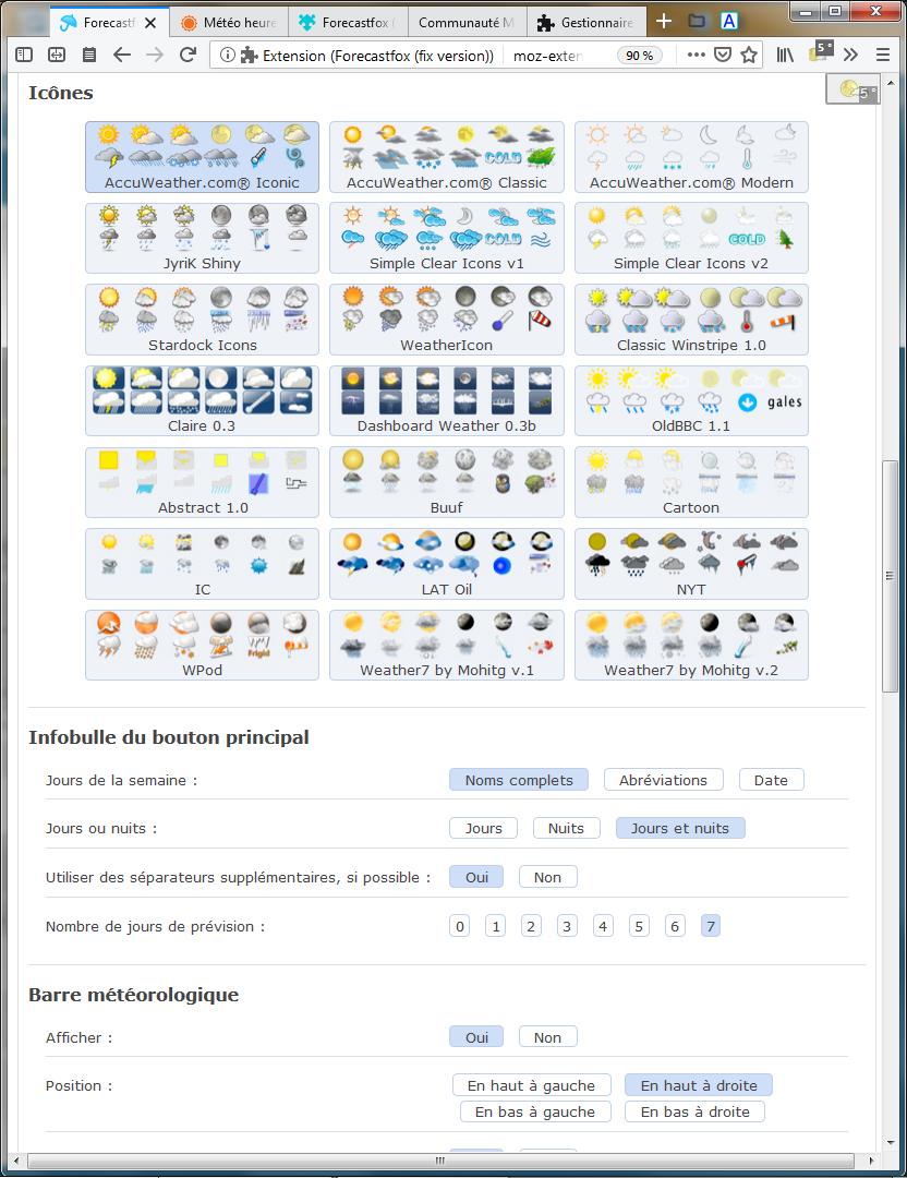 Forecastfox : options pour les packs d'icônes