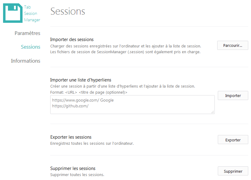 Tab Session Manager : options > Sessions