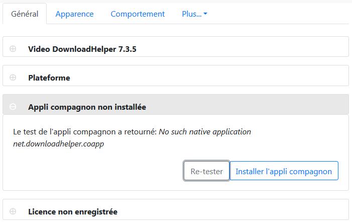 Video DownloadHelper : options > Général > compagnon