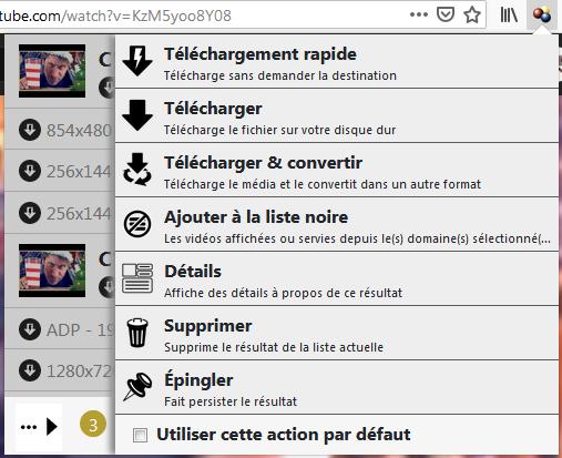 Video DownloadHelper : options du panneau de bouton de barre d'outils