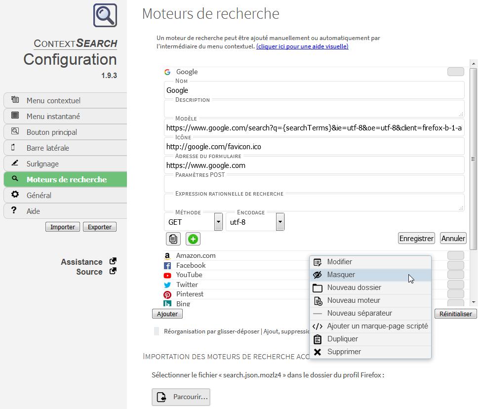 ContextSearch web-ext : options > Moteurs de recherche