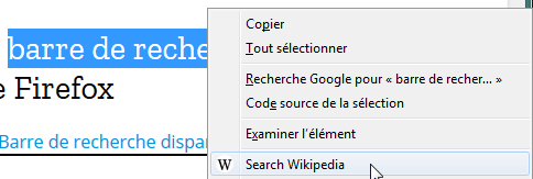 Wikipedia Context Menu Search