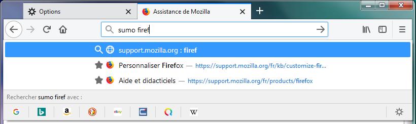 mot-clé de recherche dans la barre d'adresse