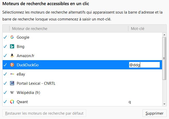 raccourci de recherche pour DuckDuckGo défini dans les options