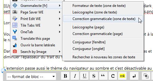 Grammalecte : menu contextuel