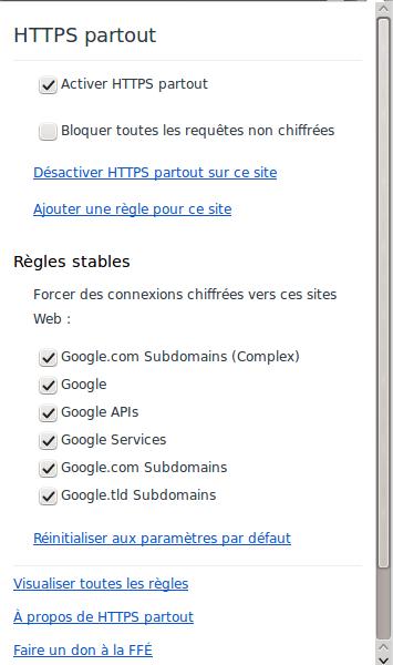 Panneau du bouton de HTTPS Everywhere