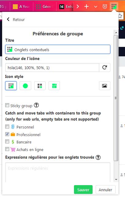 Simple Tab Groups : préférences de groupe