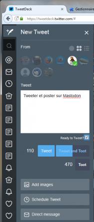 Tooter dans TweetDeck