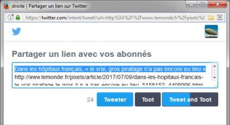 Tooter : fenêtre popup de Twitter
