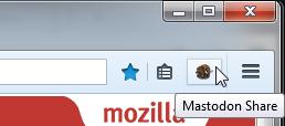 Mastodon Share : bouton de la barre d'outils de Firefox