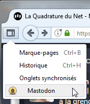 Mastodon as a Sidebar sous le bouton de la barre latérale de Firefox