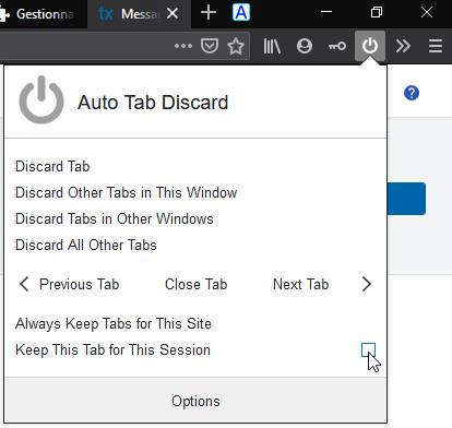 Auto Tab Discard : panneau de bouton