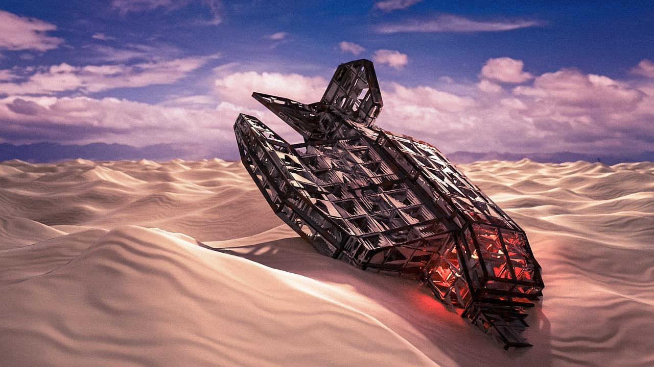 Panne d'un vaisseau spatial dans un désert (Artturi Mantysaari sur Pixabay)