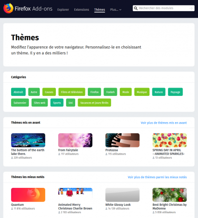 AMO : Thèmes – Modules de Firefox