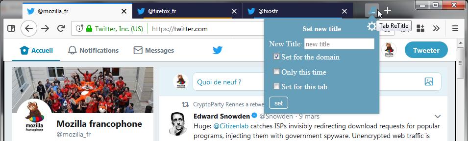 Tab ReTitle – comptes Twitter – bouton et menu