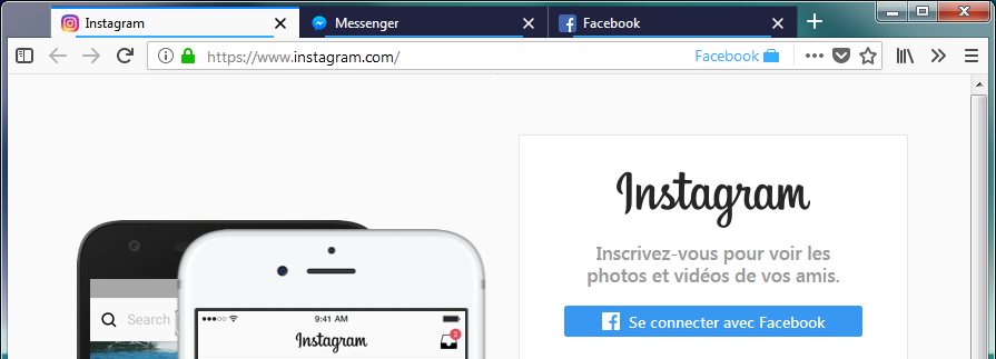 Facebook, Instagram et Messenger dans Facebook Container