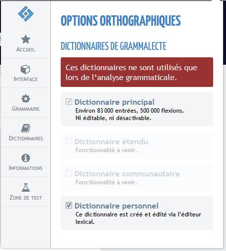 Grammalecte : Options orthographiques – dictionnaires