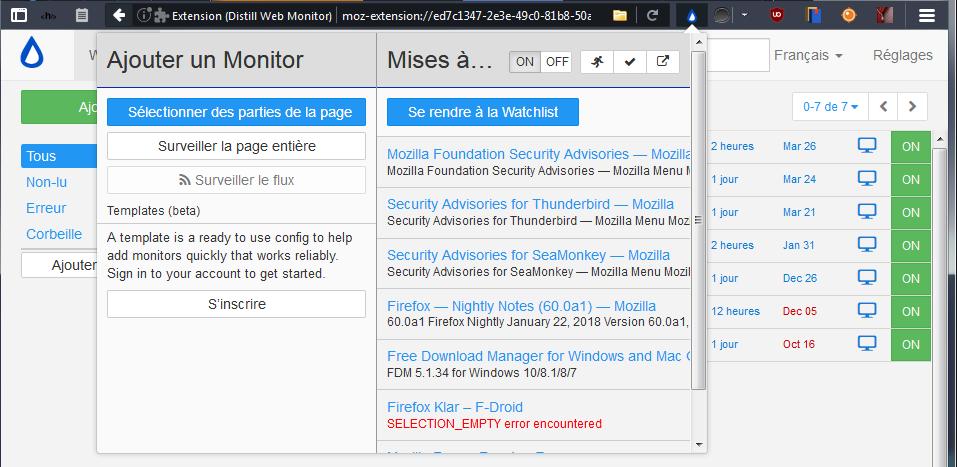 Watchlist de Distill Web Monitor