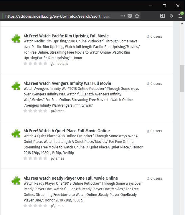 Spam sur Mozilla AMO