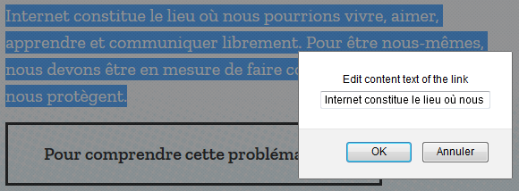 Copy URL To Clipboard : texte sélectionné