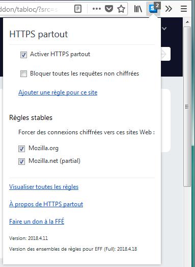 HTTPS Everywhere panneau