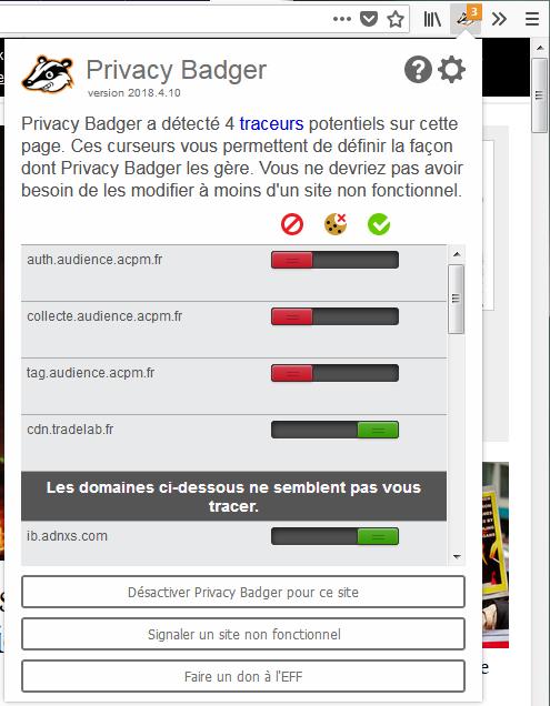 Privacy Badger panneau