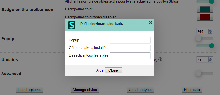 Stylus : raccourcis clavier