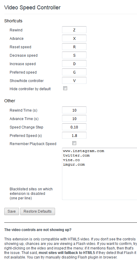 Video Speed Controller : Options