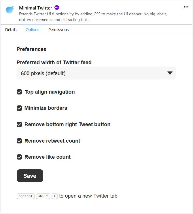 Minimal Twitter : options