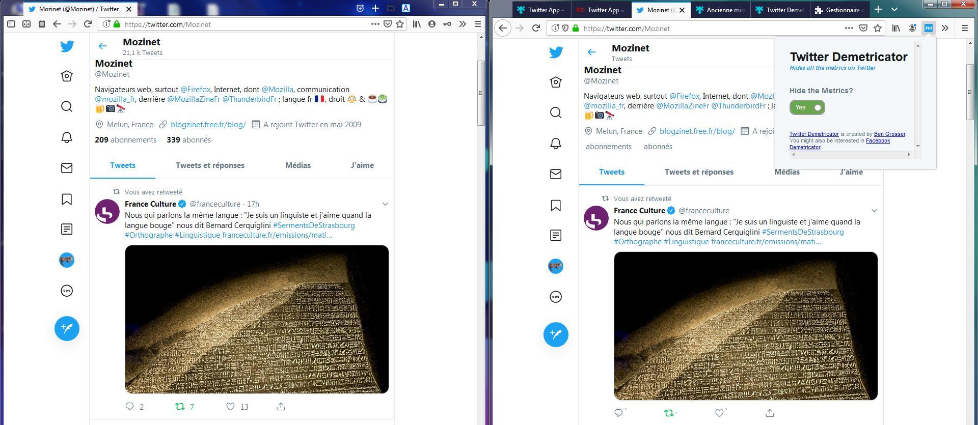 Twitter Demetricator avec et sans