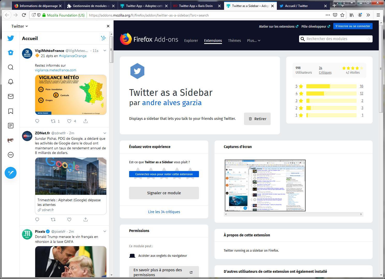 Twitter as a Sidebar