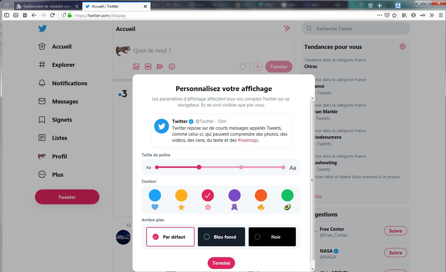 Nouveau Twitter avec boite de modification de l'affichage
