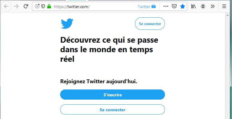 Twitter Container : contexte Twitter avec page de connexion