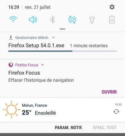 Firefox Focus pour Android 1.1 : notifications : téléchargement + ouvrir