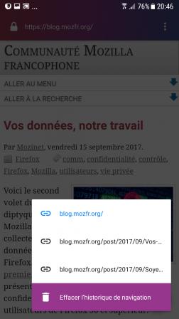Firefox Focus pour Android 2.0 : menu des onglets sur smartphone