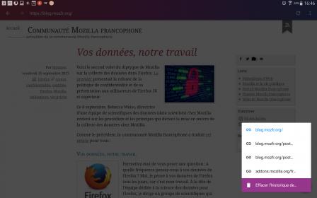 Firefox Focus pour Android 2.0 : menu des onglets sur tablette