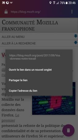 Firefox Focus pour Android 2.0 : ouvrir le lien dans un nouvel onglet